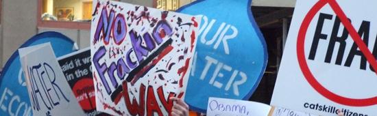 Fracking signs - demonstration
